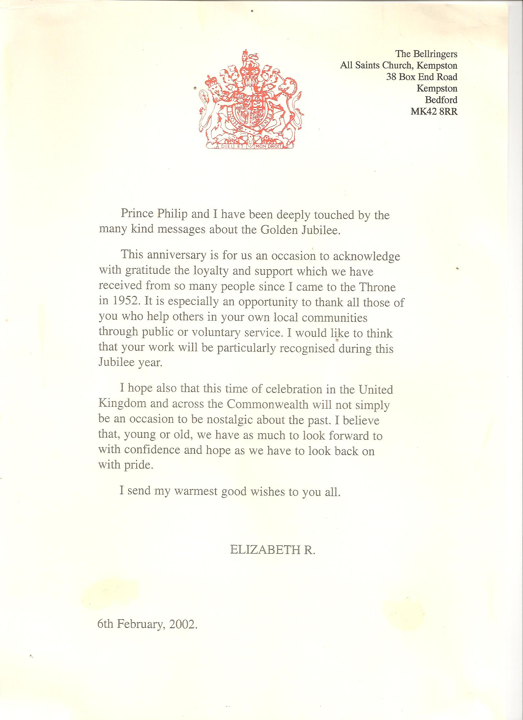 below are two letters received by kempston following peals rung to celebrate the queens golden jubilee in 2002 and the other to mark the queen mothers